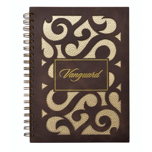 "7"" x 10"" Venetian Curves Leather Spiral Journal Notebook"