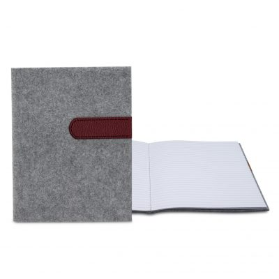 "Feltro Collection Gray Felt Sewn Commuter Journal 7"" x 9"""