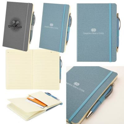 Crosshatch PU Notebook w/Pen