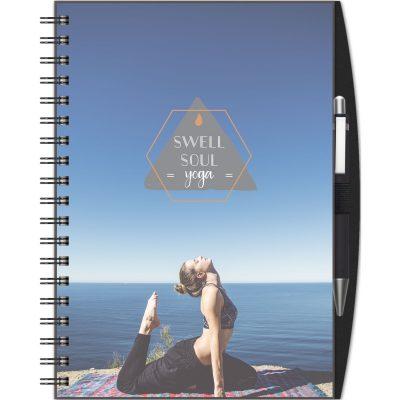 """ClearView™ Medium NoteBook Journal w/PenPort & Pen (7""""x10"""")"""